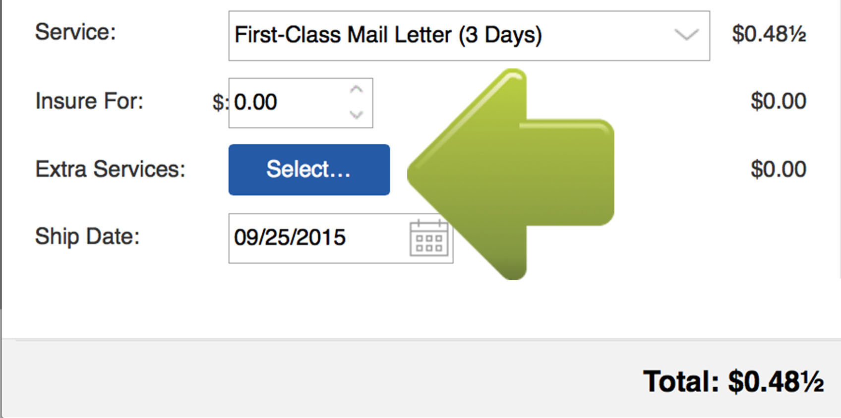 in the security drop down menu select certified mail