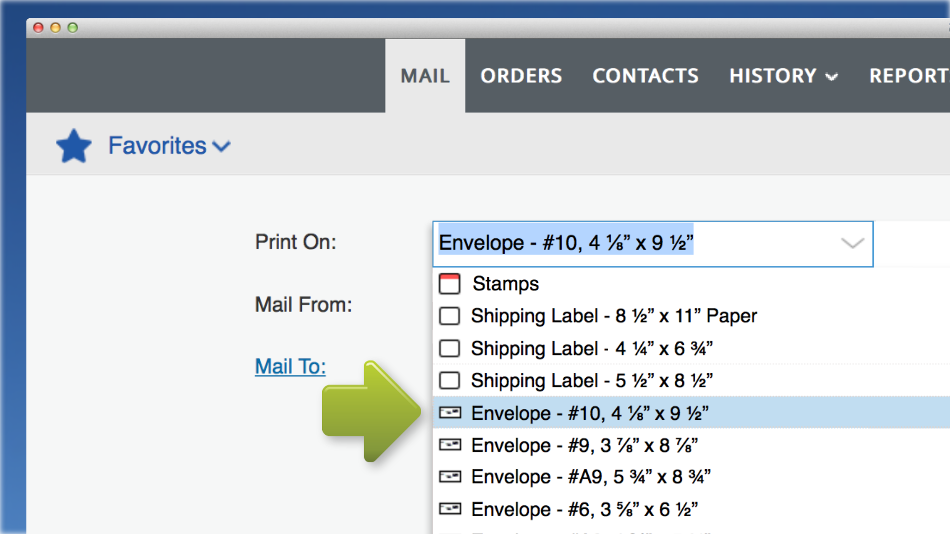 enter a mail to address either manually or from your contacts list