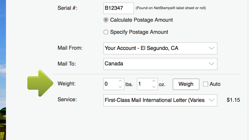 In the Service dropdown menu select First-Class Mail International Letter.