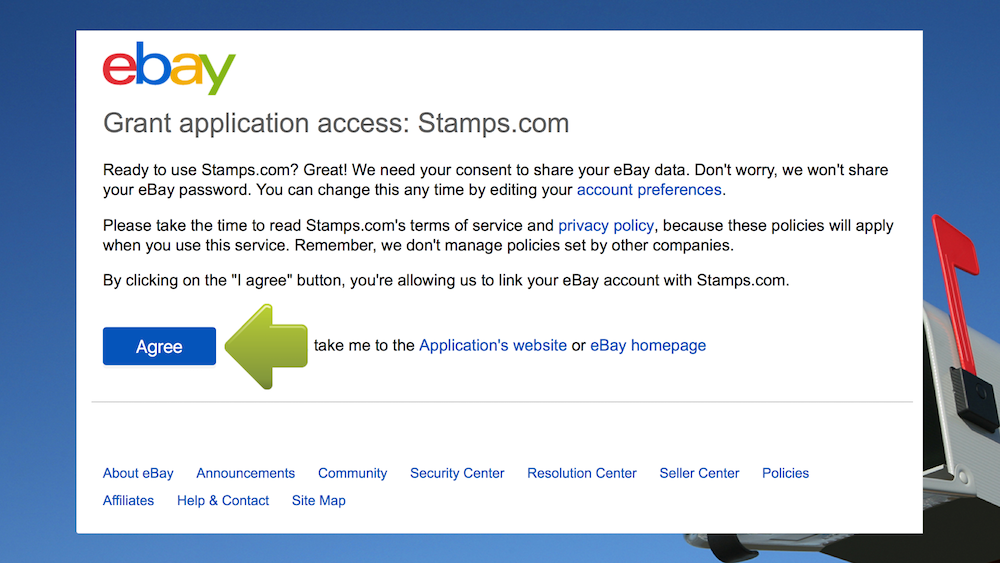 The Ebay Grant application access window will open. Click I agree.