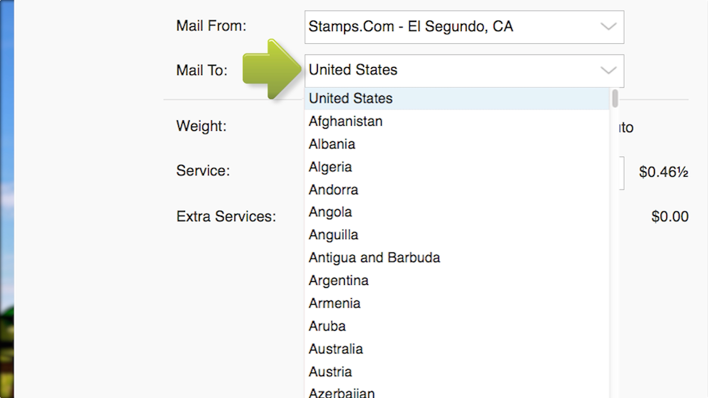 stampscom automatically sets the weight at 1 ounce which is about equal to a letter with 5 pages
