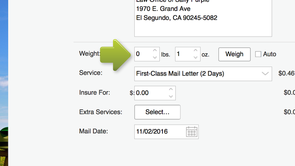 stampscom automatically sets the mail class to first class mail