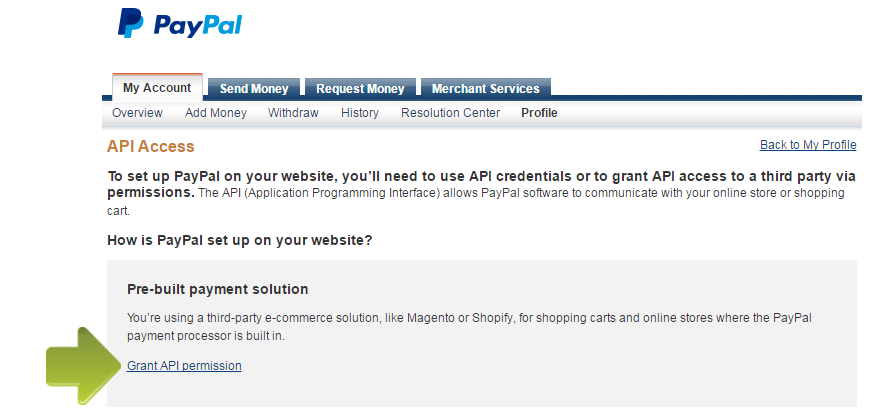 how to connect paypal to website