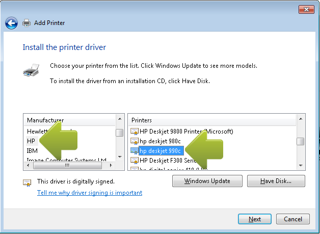 How to Install a Reference Driver (InkJet Printers)